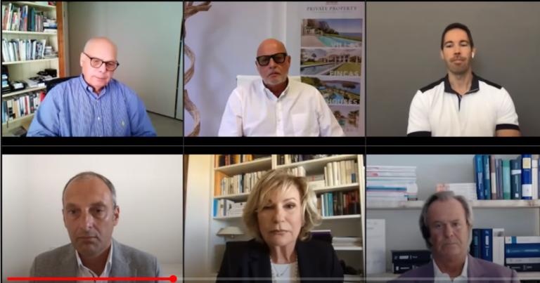 Expertos inmobiliarios de Mallorca (de izquierda a derecha) Arriba: Lutz Minkner, Andreas Dinges, Timo Weibel. Abajo: Hans Lenz con Sabine Christiansen y Willi Plattes. Imagen: YouTube / European@ccounting.