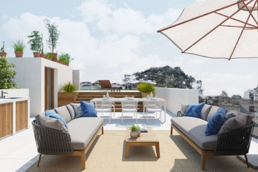 Impresionante ático de lujo, con solárium, piscina, garaje y vistas al mar en Son Armadans en Palma