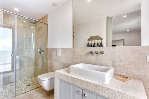 Baño bonito con ducha a nivel de suelo