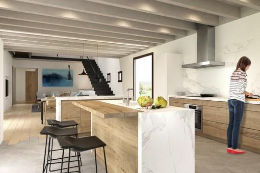 Cocina totalmente equipada con isla central