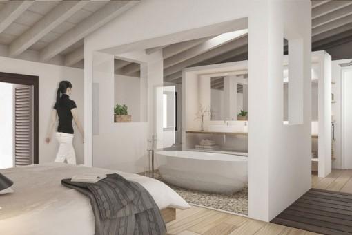 Dormitorio con abierto baño en suite