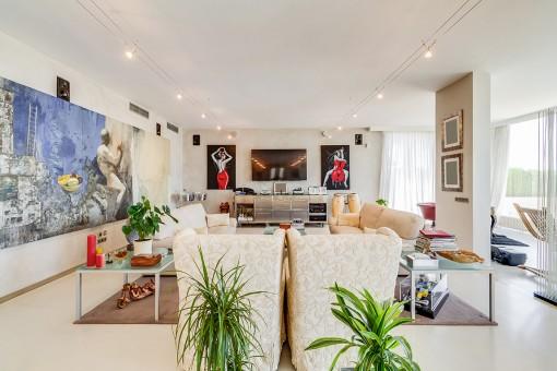 Sala de estar en estilo loft