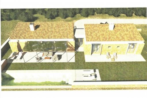 Solar con licencia de obras y proyecto vigente, para vivienda unifamiliar con piscina y vistas al mar en Sant Llorenç