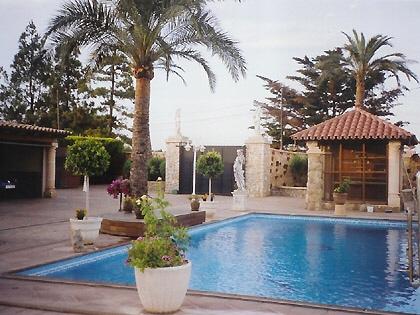 Zona de su enorme piscina con una pajarera al fondo.