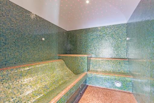 La zona de spa tiene también un baño de vapor