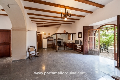 Open kitchen with living area