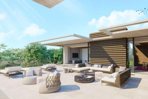 Área de estar agradable en la terraza