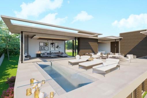 Área de piscina soleada en la terraza