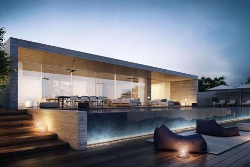 Lujosa casa moderna de arquitectura moderna con vistas al - Casas arquitectura moderna ...