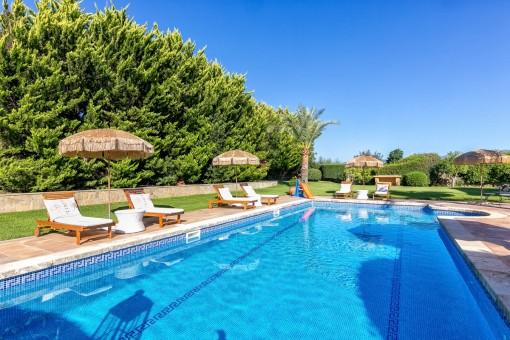 Amplia piscina y jardín muy cuidado