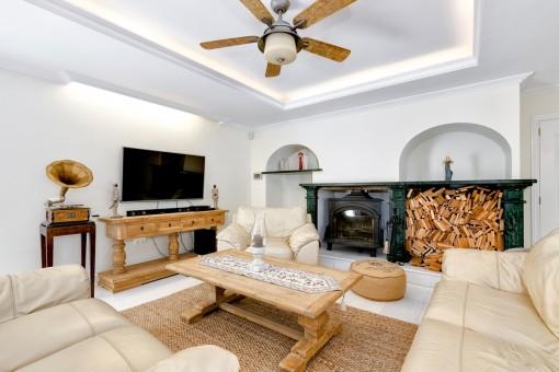 Acogedor salón con chimenea y sofa