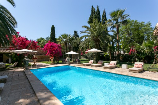 Preciosa zona de piscina con hamacas