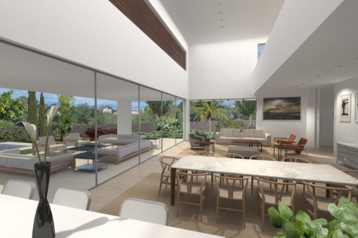 Comedor con ventanas panorámicas