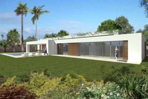 Villa con ventanas panorámicas