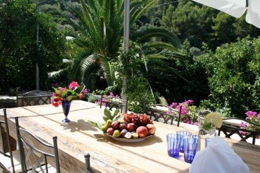 Comedor soleado al aire libre