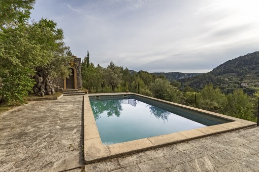 Piscina está rodeada con una terraza