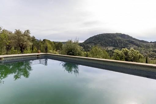 Vistas al campo hermoso desde la piscina