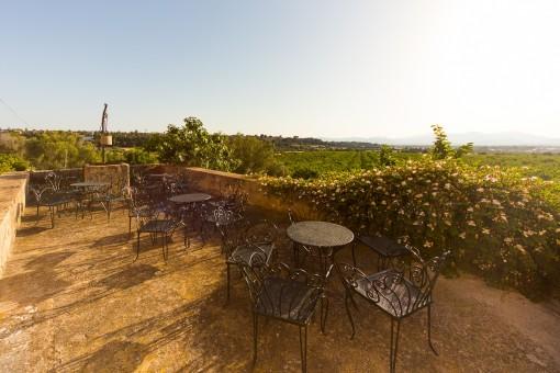 Terraza idílica para disfrutar un café