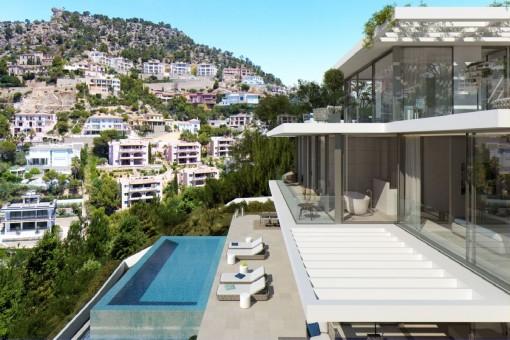 Vistas de la piscina y las terrazas