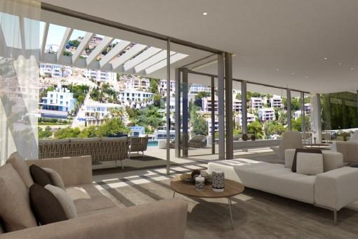 Área de estar con amplias ventanas panorámicas