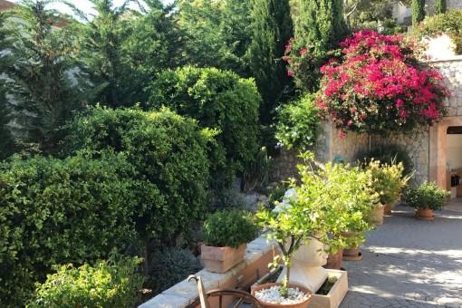 Bonito jardín delante de la casa