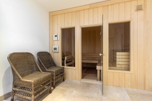 Una sauna ofrece una ambiente de bienestar