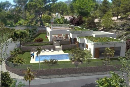 La villa se caracteriza por sus lineas claras