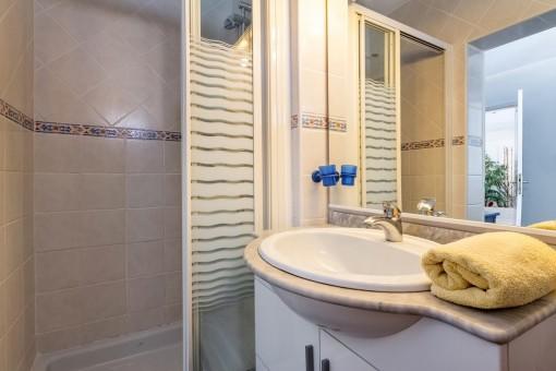 Baño con ducha en el apartamento de invitados