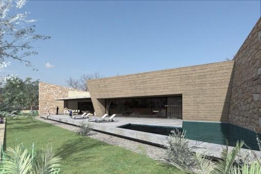 Casa proyectada con piscina