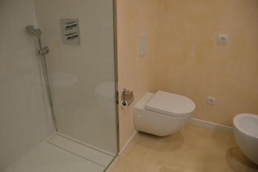 Baño de invitados con ducha a nivel del suelo