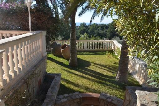 Jardín muy cuidado con palmeras