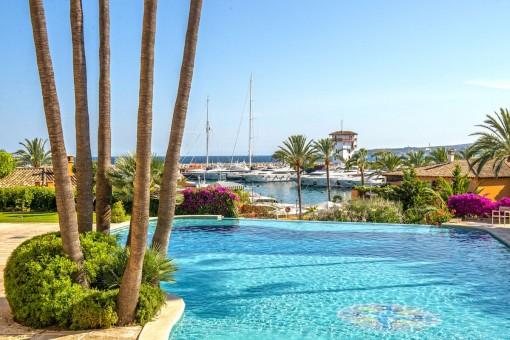 Piscina mediterránea con fantásticas vistas al puerto de Portals