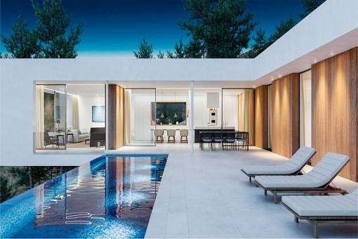 Àrea de la piscina romantica con tumbonas
