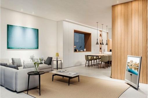 Atractiva sala de estar abierta