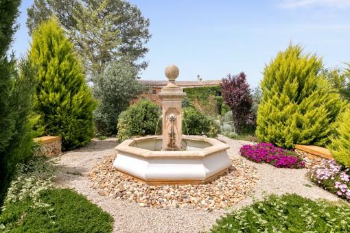 Pozo romántico en el jardín