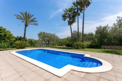 Mediterránea zona de piscina