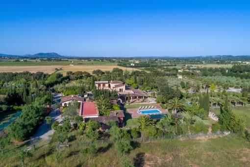 Finca con materiales de alta calidad en un solar de 40.000 metros cuadrados, jardín con palmeras, piscina y licencia de alquileres en Binissalem
