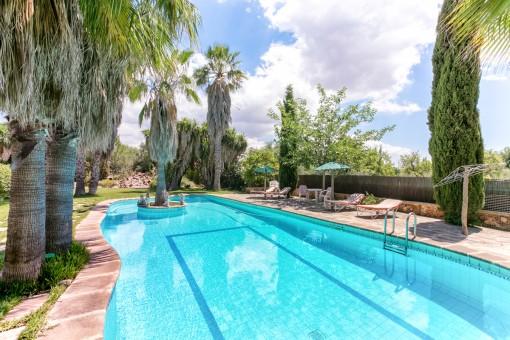 Estupenda finca con casa de invitados, piscina, palmeras, un jardín mediterráneo y 7 dormitorios en Inca