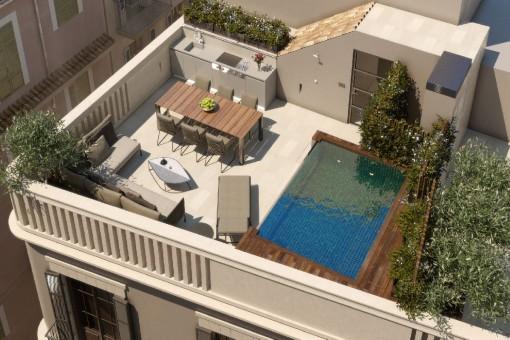 Espectacular proyecto para una casa de pueblo de alta calidad en el centro del casco antiguo de Palma