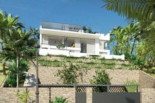 Moderna villa con ventanas panorámicas en un entorno tranquilo