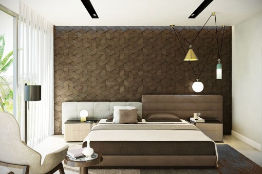 Moderno y luminoso dormitorio con cama matrimonial