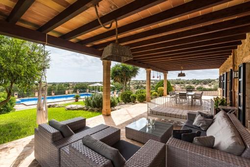 Encantadora zona de relax en la terraza