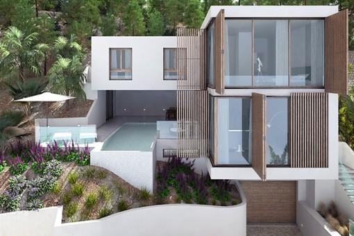 Moderno chalet de nueva construcción con magníficas vistas al mar en Santa Ponsa