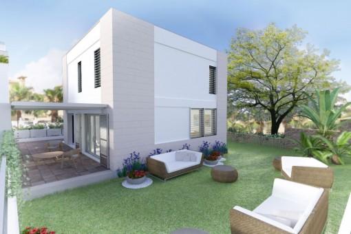 Precioso adosado de nueva construcción con piscina y jardín en Puerto de Andratx