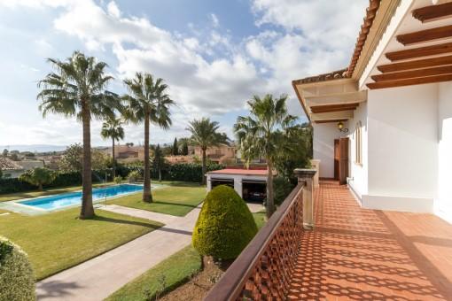 Área de piscina soleada con palmeras
