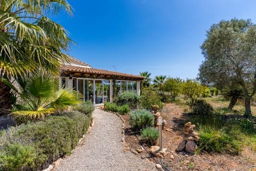 Idílica finca rodeada de palmeras y con espectaculares vistas al mar en Ses Salines