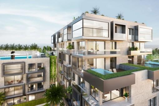 Lujoso apartamento dúplex de 5 dormitorios en planta baja con jacuzzi, ascensor privado y terraza/jardín orientado al sur en Nou Llevant cerca de Palma