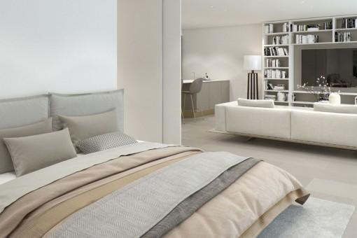 Dormitorio abierto al lado del área de estar