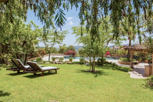 Jardín atractivo y verde para relajarse