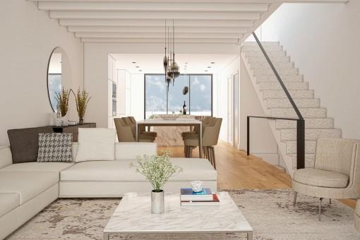Área de estar con escalera